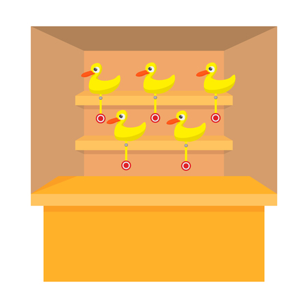 Shooting game with duck target cartoon icon on a white background