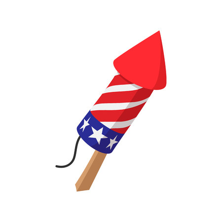 Party popper in in the American flag colors cartoon icon on white background