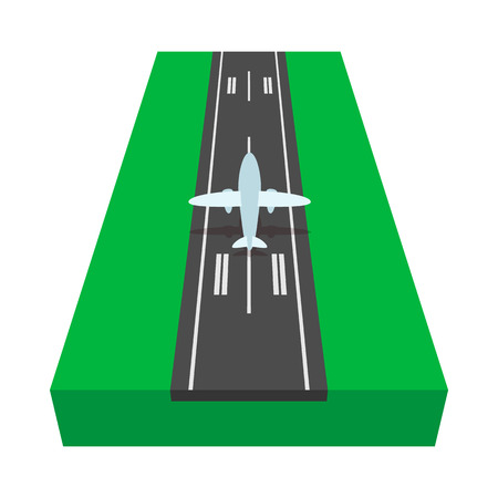 Airstrip with airplane cartoon icon on a white background