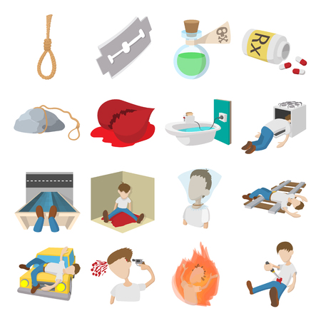Suicide icons set in cartoon style isolated on white