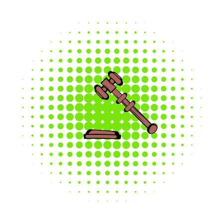 Judge gavel icon in comics style on a white background Stock Photo