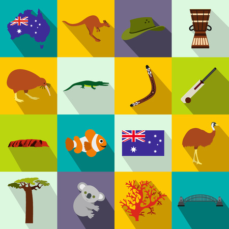 Australia icons in flat style for web and mobile devices Banco de Imagens