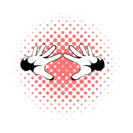 Magicians hands icon in comics style on a white background