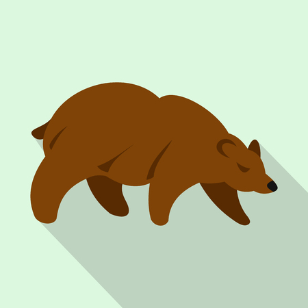 Brown bear icon in flat style on a light blue background 写真素材