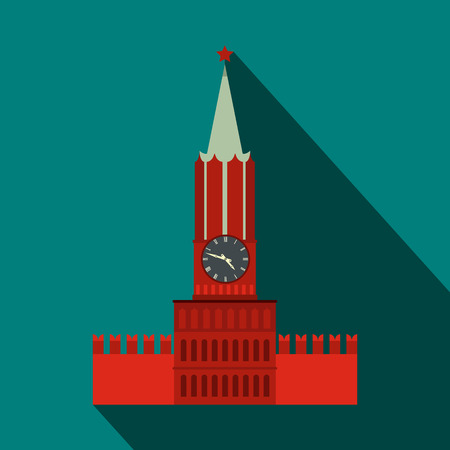 Spasskaya tower of Moscow Kremlin icon in flat style on a blue background