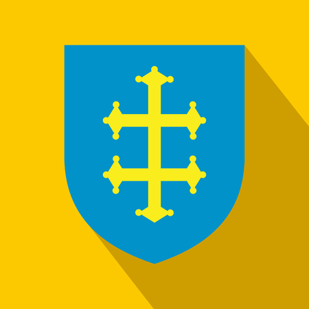 Heraldic cross of France on a shield icon in flat style on a yellow background Stock Photo - 107584283