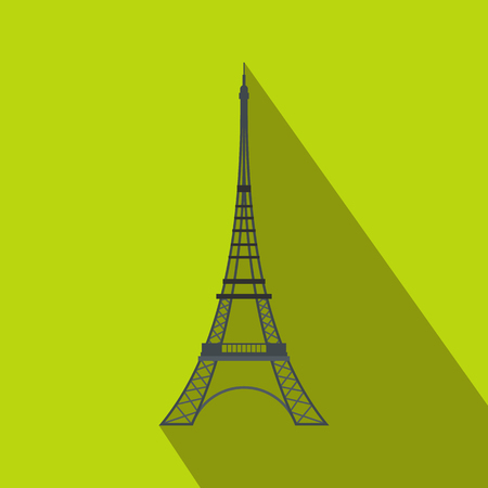 Eiffel Tower icon in flat style on a green background Stock Photo