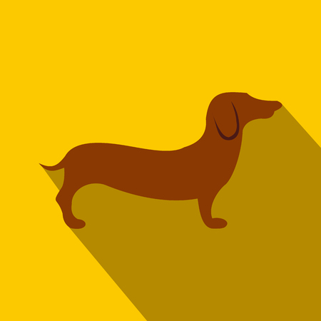German shepherd icon in flat style on a yellow background
