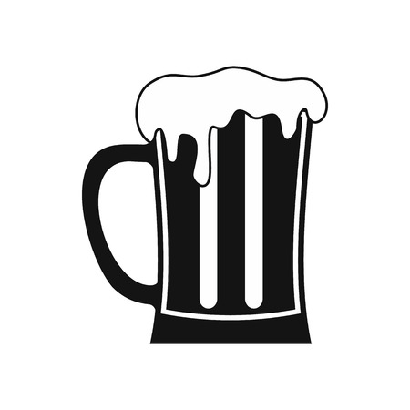 Mug of beer icon in simple style isolated on white