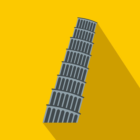 Pisa Tower icon in flat style on yellow background