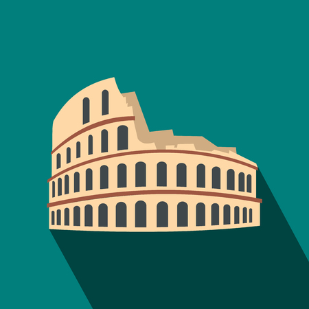 Roman Colosseum icon in flat style on a blue background Imagens