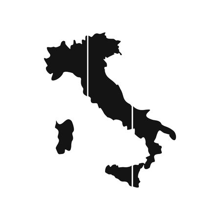 Map of Italy icon in simple style isolated on white