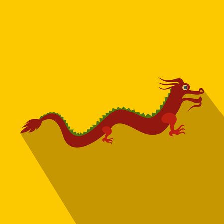 Red chinese dragon icon in flat style on yellow background
