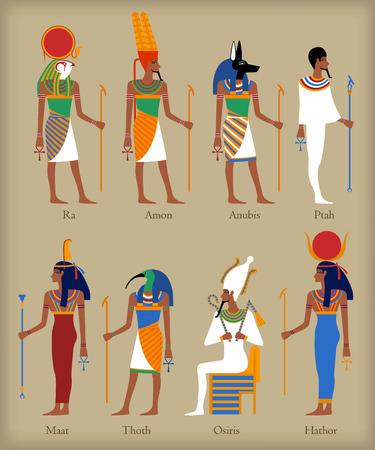 Ikony egipskich bogów w płaskim stylu dla każdego projektu
