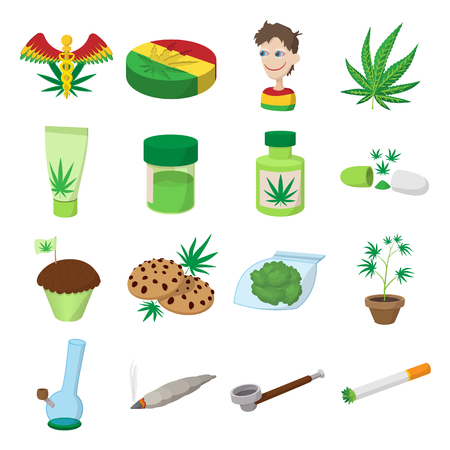 Medical marijuana icons in cartoon style on white