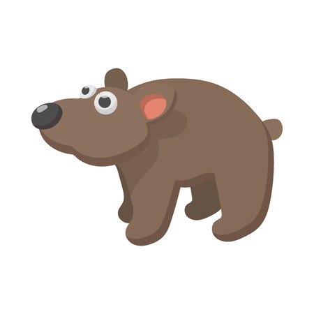 Brown bear icon in cartoon style on a white background