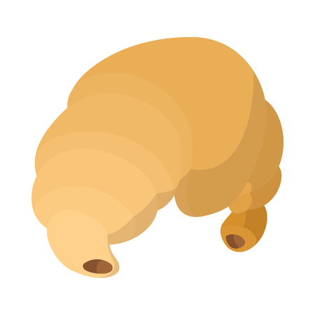 Croissant icon in cartoon style on a white background