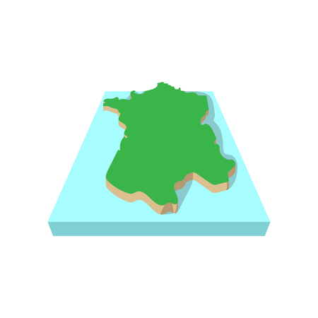 Map of France icon in cartoon style on a white background