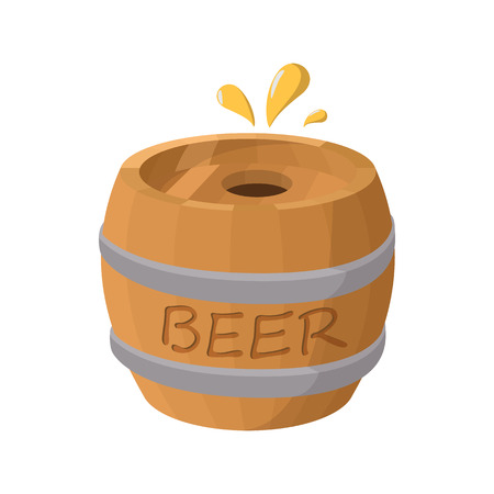 Wooden barrel of beer icon in cartoon style on a white background