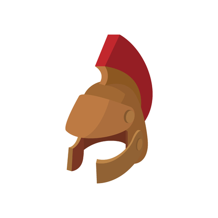 Roman legionary helmet icon in cartoon style on a white background