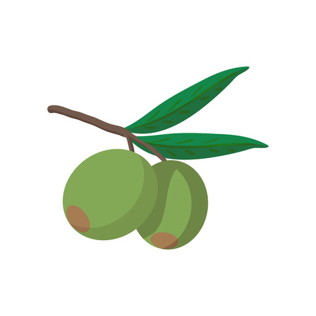 Olives on branch with leaves icon in cartoon style on a white background