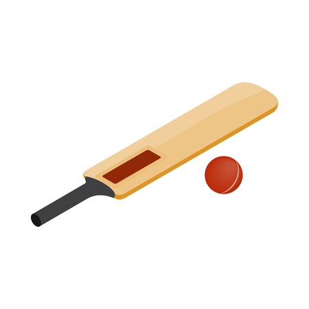 Cricket bat and ball icon in isometric 3d style on a white background Standard-Bild