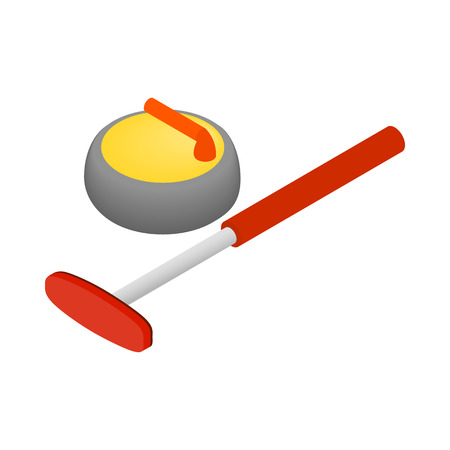 Curling icon, isometric 3d style