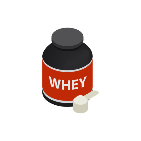 Sports nutrition icon in isometric 3d style on a white background