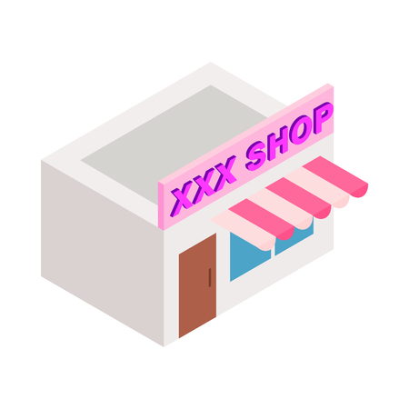 XXX shop building icon in isometric 3d style on a white background
