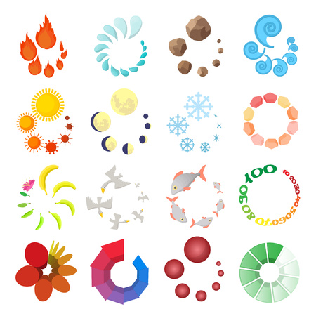 Loading icons set in cartoon style isolated on white