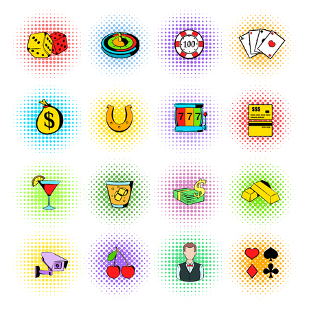 Gambling icons set, comics style Stock Photo