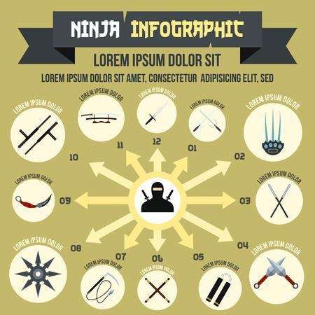 Ninja infographic, flat style Stock Photo