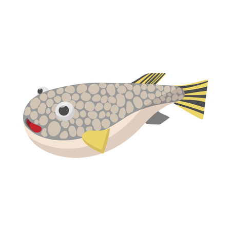 Fugu fish icon, cartoon style Stock fotó
