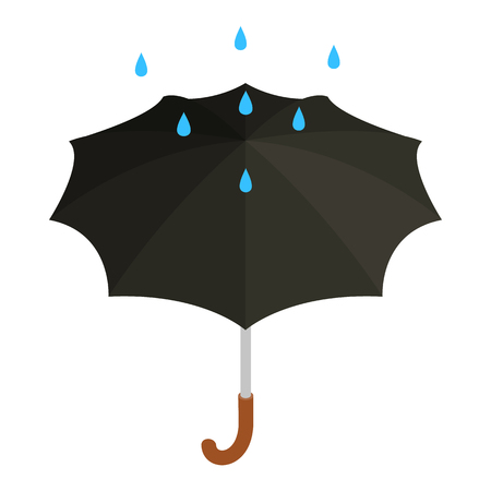 Black umbrella with rain icon, isometric 3d style Stockfoto