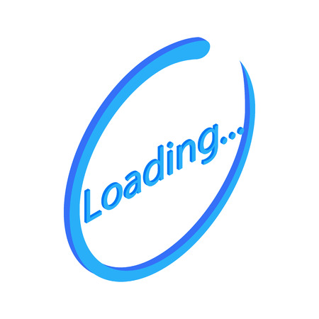 Blue loading circle sign icon, isometric 3d style