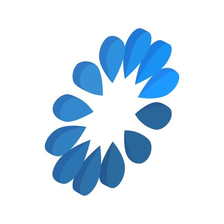 Blue circle loading bar icon, isometric 3d style