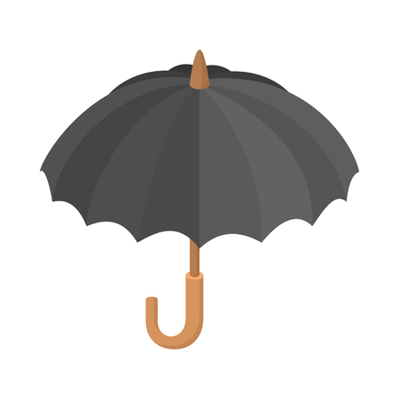 Black umbrella icon, cartoon style Stockfoto