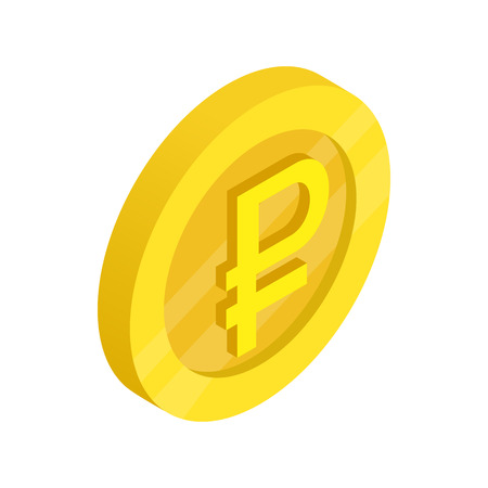 Gold coin with ruble sign icon, isometric 3d style