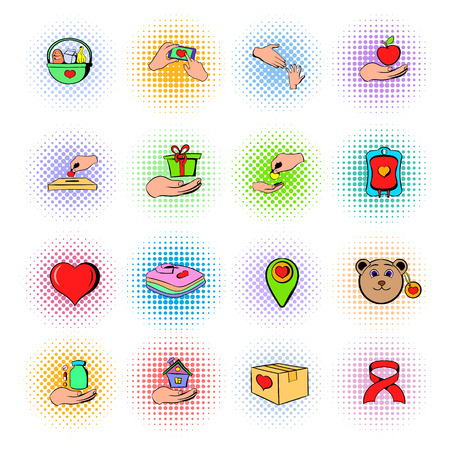 Charity icons set, comics style Stock Photo
