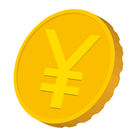 Gold coin with Yen sign icon, cartoon style