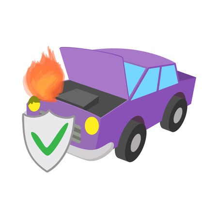 Car fired vehicle insurance icon, cartoon style