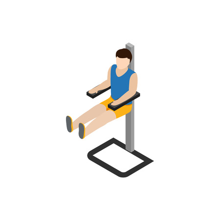 Man doing workout in gym icon, isometric 3d style