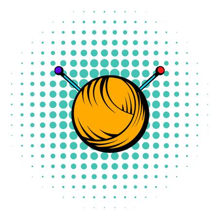 Knitting thread and needles icon, comics style Фото со стока