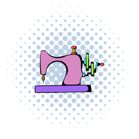 Sewing machine icon, comics style