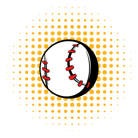 Baseball ball icon, comics style