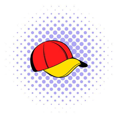 Baseball cap icon, comics style