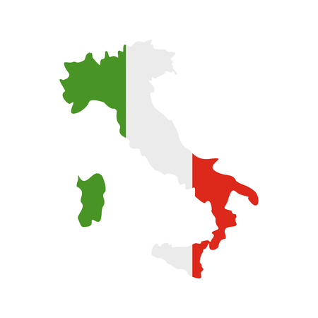 Map of Italy with national flag icon, flat style