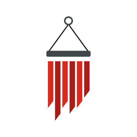 Wind chimes icon, flat style