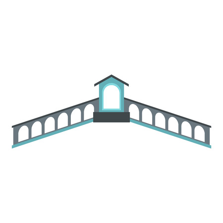 Rialto Bridge, Venice icon, flat style 스톡 콘텐츠