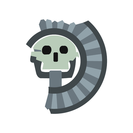 Skull the god of death of Aztecs icon, flat style